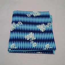 Sky and Royal Blue Wax with White Floral Pattern - 6 Yards