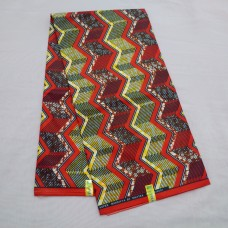 Red, Yellow and Brown Super Mardiyya Wax  - 6 Yards