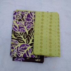 Lemon Purple Ankara/Lace Plain and Patterned Fabric - 5 Yards