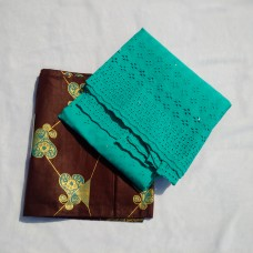 Brown and Teal Green Ankara Lace - 5 Yards