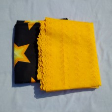 Black and Golden Yellow Ankara/Lace Plain and Patterned - 5 Yards