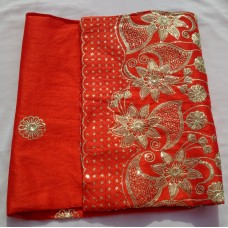 Pure Red Indian George Lace with Gold Adornment  - 5 Yards