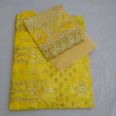 7 Yards Embroidered & Bedazzled Indian Lace George With Blouse - Yellow